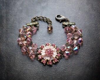 Pink Rhinestone Bracelet Assemblage Flower Lucite Vintage Bicone Crystal AB Multi Strand Chunky Statement Upcycled Repurposed Jewelry Retro