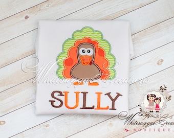 Boys Thanksgiving Turkey Shirt - Boys Embroidered Shirt - Custom Thanksgiving Shirt - Baby Boy Holiday Outfit