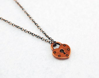 Heart Lock Necklace in Antique Copper - Antique Copper Lock Jewelry, Antique Copper Heart Necklace, Galentine's or Valentine's Day Gift