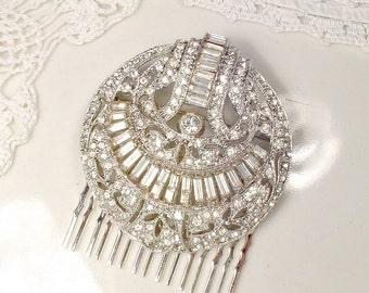 1920s Wedding Dress Sash Brooch OR OOAK Bridal HAiR CoMB, Vintage Round Pave Rhinestone Art Deco Old Hollywood Glam Great Gatsby Edwardian
