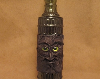 Grichels leather and glass fancy bottle - bronze leather with custom lime green glitter eyes