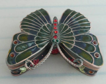 Trinket Box ,Pill Box, Multicolor Enameled Metal made in the shape of a Butterfly;