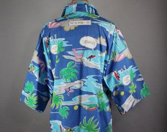 80s Women's Surfer Hawaiian Shirt, Spring Break, Summer, Cotton Shirt, Vacation, Resort, Button Down, Size Large, Plus Size