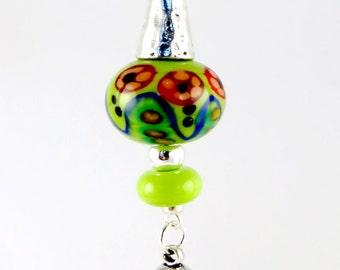 Green Bead Pendant, Lampwork Pendant, Statement Pendant, Indian Pendant, Round Tribal Pendant, Handbag Accessory, Lampwork Keyring