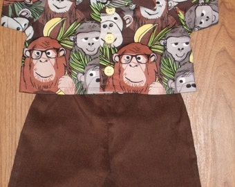 """NEW For Cabbage Patch Kids Boy Doll Clothes 16"""" Benartex Monkeys """"Monkey Business"""" Shirt and Brown Corduroy Pants Set"""