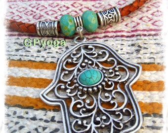 Boho Girl HAMSA HAND necklace Cowgirl jewelry Leather necklace Statement necklace Gypsy Bohemian Turquoise jewelry Womens accessories GPyoga