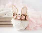 bunny springtime newborn bunny easter woodland ears crown halo floral headband prop