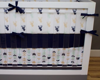 Crib Bedding Boy, Woodland Nursery Baby Bedding, Navy, Mint and Tan Deer Buck Antler Feather Arrow Woodland Baby Boy Nursery Set