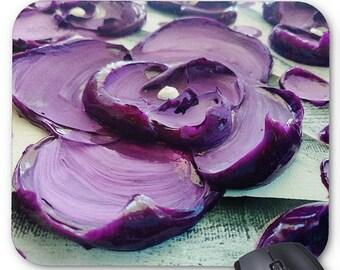 Mousepad Mouse Pad Fine Art Painting Impasto Purple Flower Fine Art Contemporary Palette Knife Blossoms Modern Amber Elizabeth Lamoreaux