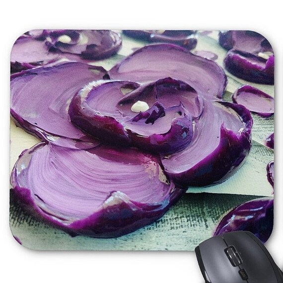Mousepad Mouse Pad Fine Art Painting Impasto Purple Flower Fine Art Contemporary Palette Knife Blossoms Modern Amber Elizabeth Lamoreaux