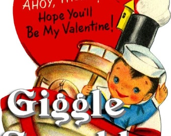 Tugboat Boy Valentines – Vintage Digital Download – Kitschy Cute Clipart –  2 Instant Download Printable Images – Valentines Day