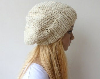 Cream Knit Hat Cream Slouchy Hat Womens Chunky Knit slouch beanie Mens knit hat