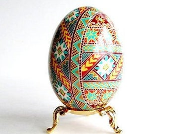 Goose  egg shell Ukrainian Easter egg hand painted egg