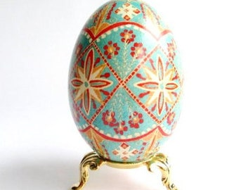 Pysanka Red Turquoise Ukrainian Embroidery design Ukrainian Easter goose egg pysanka hand painted batik season greetings gift