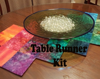 Easy to Sew Kit for Table Runner in Tropical Punch Batiks in Oranges, Pinks, Greens and Blues with Magenta Ombre Back