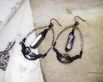Rustic Beaded Earrings - Dreamboat Earrings - Steel Wire Crescents - Vintage Glass - Metallic Silver Quartz Points - Rain Grey Earrings
