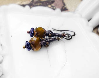 Rustic Drop Earrings - Assemblage Earrings - Handmade Beaded Wire Caps, Pondwater Brown Translucent Faceted Glass Beads , Blue Flowers