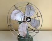Vintage Eskimo Mint Green Electric Fan, Oscillating Fan, Cast Iron Base, 1940's