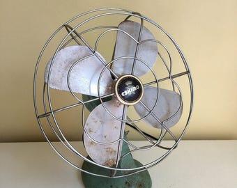 ON RESERVE Vintage Eskimo Mint Green Electric Fan, Oscillating Fan, Cast Iron Base, 1940's