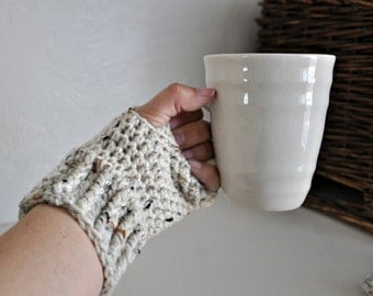 Oatmeal Fingerless Gloves Unisex Wrist Warmers Texting Gloves Mens or Womens Fashion Accessories Custom Colors