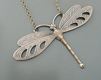 Vintage Necklace - Dragonfly Necklace - Art Deco Necklace - Statement Necklace - Brass Necklace - Pendant Necklace - Handmade Necklace
