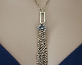 Tassel Necklace - Brass Necklace - Chain Tassel Necklace - BohoNecklace - Mixed Metal Necklace - Handmade Necklace
