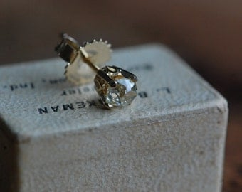 Antique cushion cut diamond singleton stud .30 carat