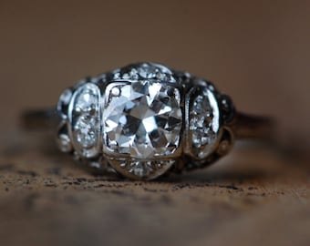 Art Deco platinum filigree diamond engagement ring ∙ 1/2 carat European Cut diamond engagement ring