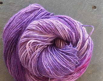 VIOLETS ~ hand dyed BOUTIQUE TUSSAH Silk Yarn single ply 100g/3.5oz