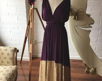 Plum w/ Gold Sequin Dipped Bella Luna Infinity Convertible Dress ~ Custom Choose your fabrics. MOH, Bridesmaids, Prom, Military Ball