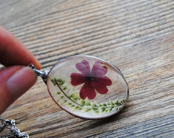 Oval terrarium necklace,  pressed flower necklace, real flower pendant terrarium jewelry, rustic wedding bridesmaid necklace, herbarium