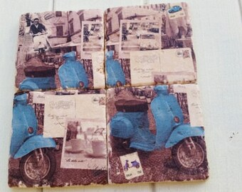 French Inspired Paris Scooter Vespa Stone Coaster Set of 4 Tea Coffee Beer Coasters