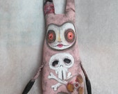 OOAK Art Doll Lowbrow Rabbit Softie Stuffed Creepy Cute Pink Easter Bunny Toy Gothic Skull Radioactive Post apocalyptic  Free Shipping USA