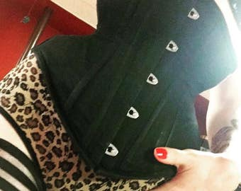 """11 sizes! Ready to wear black cotton training corset, underbust, available in 20"""", 22"""", 24"""", 26"""", 28"""", 30"""", 32"""", 34"""", 36"""", 38"""", 40"""""""