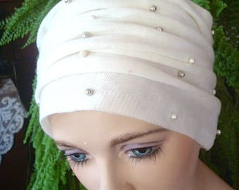 womens headband adult headcover turban cream with pearls