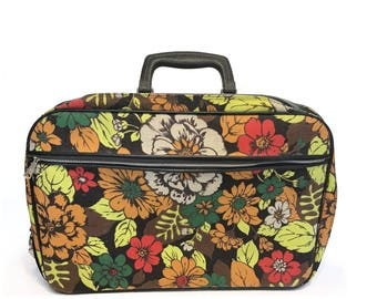 Vintage Suitcase Brown Flowered Retro Luggage Overnight Travel Bag Made in Japan Flower Power Soft Sided Mod Fabric 70's Carry On Tote Bag