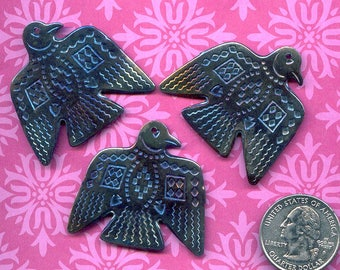 Metallic Blue/Bronze Southwestern Eagle smashed vintage steel pendant South Western Cowboy, Bird, Animal, Shaman Jewelry