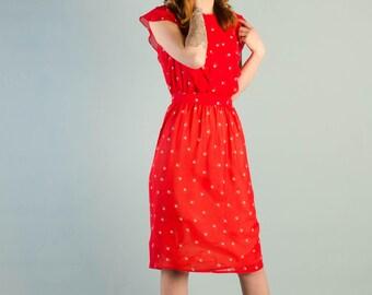 Vintage 1980's Sheer Strawberry Dress