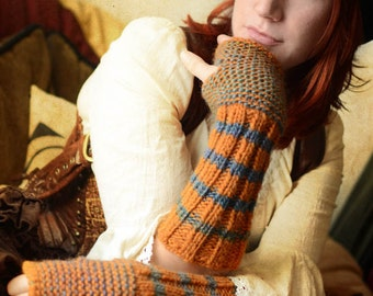 Wildling Knits Pair of Hand Knit Arm Warmers in Pumpkin Orange and Blue Ready to Ship