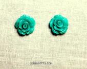 Teal Green Rose Earrings