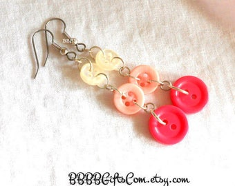Ombre Pink Button Earrings