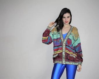 Vetements VTG 1990s Vintage Hip Hop Authentic Coogi Oversize Rainbow Cosby Rap  Cardigan Sweater - Biggie Smalls  - W00359