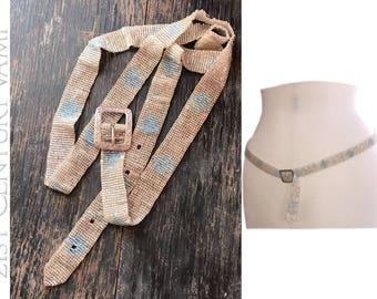 Edwardian Silver Beaded Belt with Sterling Buckle. Adie & Lovekin Ltd. 1911. Bridal. Wedding. Something Old. Something Blue. M/L
