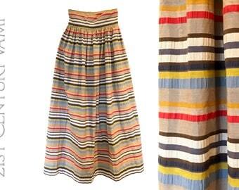 1970s Rainbow Stripe Maxi Skirt. High waist.