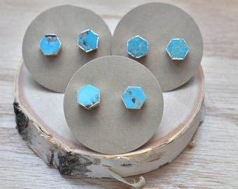 Silver Hexagon Turquoise Stud Earrings/ Silver Stud Post Earrings Natural Bright Blue Turquoise/ Natural Turquoise Blue (GSS21-S)