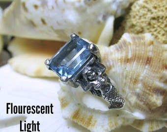 Zandrite Mermaid Ring Color Change Stone Sterling Silver 4.63g Size 7.75