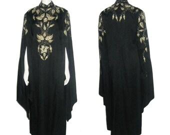 VTG Miss Egypt Rare Gold Metallic Embroidery Rhinestone Beads Encrusted Embellish Long Pointy Hem Cape Sleeve Caftan Grecian Long Gown Dress