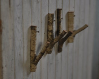 set of 4 natural wall birch hooks •  tree branch hooks • Birch Wooden Hook  for all of your home decor needs . . .