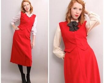 1970's Pendleton Wool Suit / Red Vest and Skirt 2-Piece Set / Medium