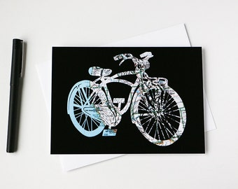 Bicycle Map Art Card // Western United States Mapcut // Along For The Ride